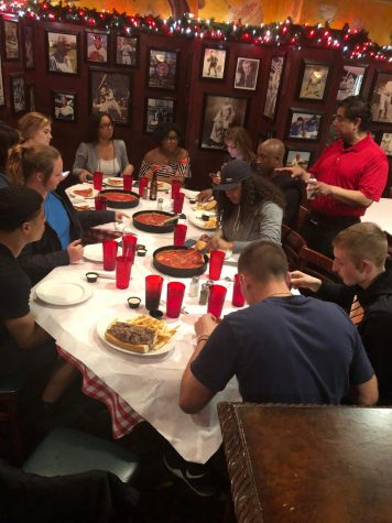 "The Tiger Eye News Staff enjoying ""Deep-Dish"" Chicago-style Pizza at famous Pizano"