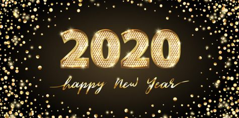 Golden Vector luxury text 2020 Happy new year. Gold Festive Numbers Design, display for article.