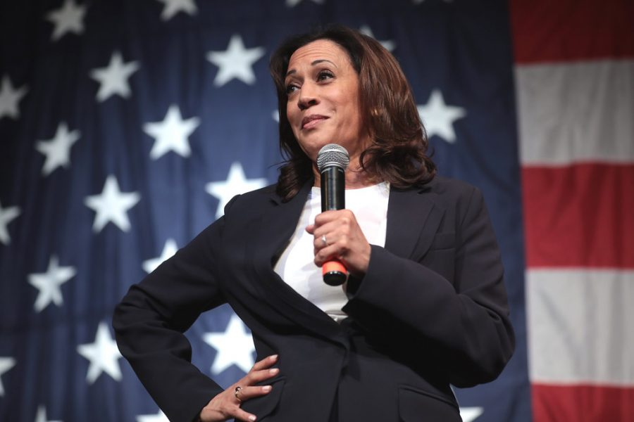 Kamala Harris, the first female vice president, addresses a crowd.